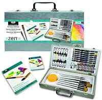 53 Pezzi Zen Misto Media Dipinto Artista Scatola Set Spazzole Pads Colori Arte