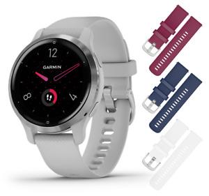 Garmin Venu 2S GPS Smartwatch Silver/Mist Gray with 3x Straps (Berry+Navy+White)