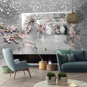 BLUMEN 3D TUNNEL HOLZ Vlies Fototapete Orchidee Wohnzimmer TAPETE XXL 368x254