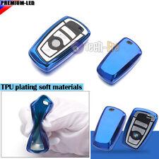 Blue TPU Soft Remote Smart Key Fob Holder Cover For BMW 1 3 4 5 6 7 X1 X3 Series