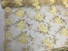 Lt-gold 3D Ribbon Flowers Embroider With A Metallic Tread And Sequins On A Mesh.