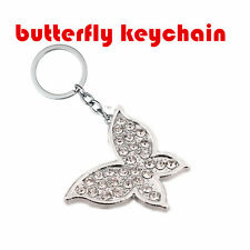 1 Pc Butterfly For Car Fashion Chain Keychain key Ring Lovely New Meta 00006000 l Silver