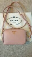 100% Authentic Prada Saffiano Leather Cross Body Bag Pink, Gold Hardware RRP£860