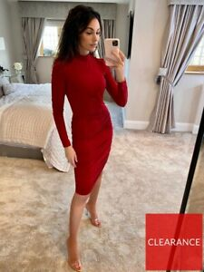 BNWT MICHELLE KEEGAN SIZE 12 RED HIGH NECK LONG SLEEVE RUCHED STRETCH DRESS NEW