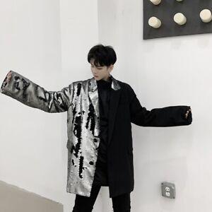 Mens Jacket Sequins Lapel Collar Stage Suit Blazer Coat Party Dress Outwear