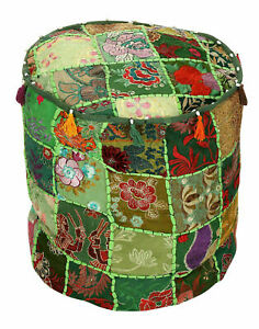 Vintage Patchwork Embroidered Cotton Ottoman Pouffe Cover Handmade Footstool