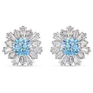 Swarovski Crystal Sunshine Pierced Earrings, Blue, Rhodium Plated 5536741