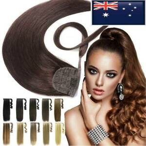 One Piece Real Remy Human Hair Extensions Clip in Wrap Around Ponytail Thick AU8