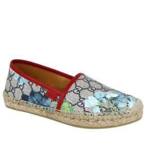 Gucci Women's GG Supreme Canvas Blue Bloom Espadrilles Flats 546151 8473