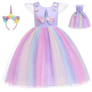 Fairy Tale Princess Dress Kids Girls Unicorn Cosplay Costume With Headband Gift