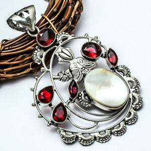 """Mother Of Pearl, Red Garnet Handmade Ethnic Style Jewelry Pendant 3.71"""" LL"""