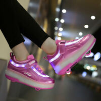 Kids LED Roller Shoes Wheels Skate Sneaker Rechargeable Sports Shoes Boys Girls