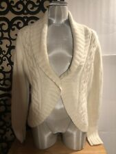 St. John's Bay Cropped V-Neck One Button Sequin Cardigan Sweater Large Nwot