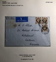 1948 Fairlie England Airmail Cover To Kitchener Canada