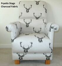 Fryetts Stags Fabric Chair Charcoal Natural Armchair Bespoke Upholstery Lounge