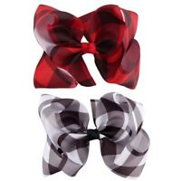 "6"" Girls Ribbon Plaid Hairgrips Hair bow Hair Accessories With Alligator Clips"