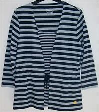 New Womens Dash Grey & Navy Cotton Rich Striped Top Size 10