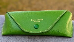 KATE SPADE Green Boarskin Soft Leather Eye Glasses Eyeglass Case Snap Closure