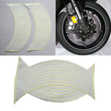 "18""  Wtite Stickers Reflective Car Motorcycle Rim Stripe Wheel Tape Decal SEAU"
