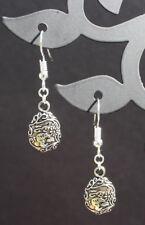 Easter egg dangle earrings tibetan silver handmade