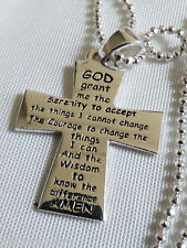 Sterling silver 925 Italy beaded chain Prayer message cross penadant Necklace