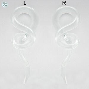 Pair of Clear Glass Tapers 0G-6G Single Twist Clear Pyrex with Spiral End