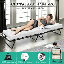 Portable Folding Bed with Mattress Camping Single Size Outdoor Indoor White