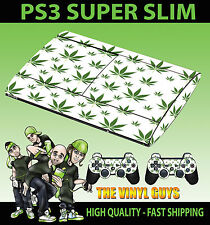 Playstation ps3 super slim blanc feuille de cannabis weed PEAU AUTOCOLLANT & 2 pad peau