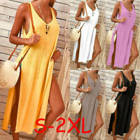 Summer Women's Boho Split Long Maxi Evening Party Cocktail Beach Dress Sundress