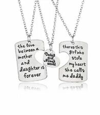 DADDY'S GIRL MAMAS WORLD 3 PC HEART NECKLACE SET FATHER MOTHER DAUGHTER #KC57