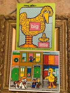PLAYSKOOL WOOD PUZZLE 1973 BIG LITTLE BIRD SESAME STREET LOT 376-2 315-13 MUPPET