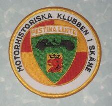 """Motorhistoriska Klubben i Skåne Patch - 3 1/8"""" x 3 1/8"""" - Festina Lente Sweden"""