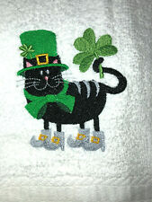 Embroidered Bathroom Hand Towel Black Cat St Patrick's Day Theme Shamrocks Boots