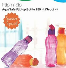 Tupperware 750 ML Flip 'n' Sip AquaSafe Flip top Water bottles- Set of 4- New!