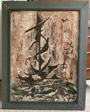 Vintage 1960s Abstract Nautical Seacape Painting Mid Century Modern Art Signed