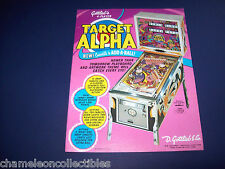 TARGET ALPHA By GOTTLIEB 1977 ORIGINAL EM FLIPPER PINBALL MACHINE SALES FLYER