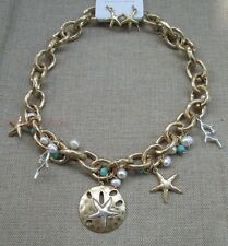 Sand Dollar Starfish Coral Reef Beach Gold Silver Charm Cable Necklace Turquoise