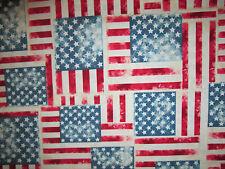 DENIM FLAG USA STARS STRIPES COTTON FABRIC BTHY