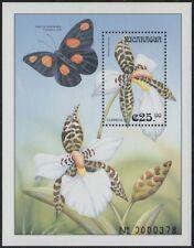 Nicaragua HB 285 1999 Flora orquídeas mariposas flowers butterflies MNH