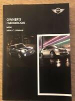 BMW MINI & MINI CLUBMAN OWNERS HANDBOOK MANUAL GENUINE BMW MINI DEALER BOOK