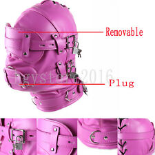 Rosy Leather Bondage Hood 10cm Mouth Gag Blindfold Full Head Mask Removable Gift