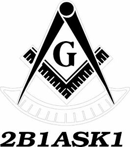 White Vinyl Decal Past Master Symbol with 2B1ASK1 car truck Masonic