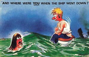 Rude Risque Bamforth Comic Postcard Shipwreck Toilet Vintage #2622 Funny.
