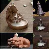 Porcelain Backflow Ceramic Glaze Incense Smoke Cone Burner Holder Tibet Buddhist