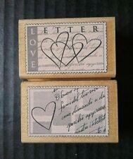 Hero Arts Rubber Postage Stamp Love Letter Italian Heart Script Snail Mail Lot