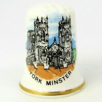 COLLECTABLE FINE BONE CHINA THIMBLE 'YORK MINSTER' BY BIRCHCROFT