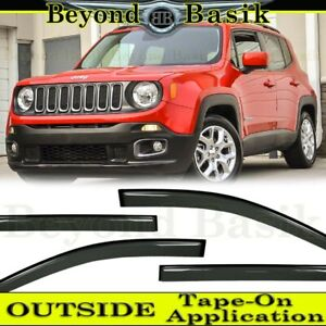 For 2015 16 2017 2018 2019 2020 Jeep Renegade SMOKE Door Vent Visors Rain Guards