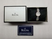 BULOVA DRESS WHITE MOP DIAL CRYSTALS ST.STEEL WOMEN'S WATCH 96T14 STORE DISPLAY