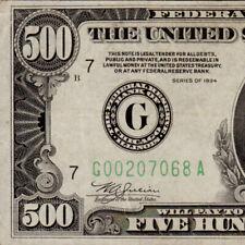 Vintage US 1934 Chicago $500 Five Hundred Dollar Bill 1000 Fr.2201 G00207068A