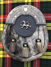 écossais Kilt Cantle Joint PEAU LION RAMPANT antique finition / HOMMES sporran